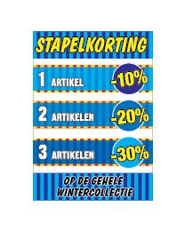 Poster stapelkorting winter blauw STA-103