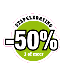 Etalagesticker stapelkorting lente groen 3 artikel STA-71
