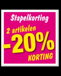 Etalagesticker stapelkorting lente roze 2 artikel STA-54