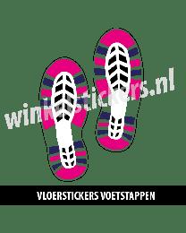 schoenstickers vloersticker roze blauw