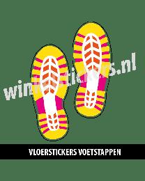 schoenstickers vloersticker geel roze