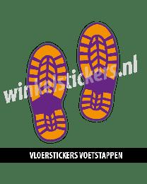 schoenstickers vloersticker oranje paars